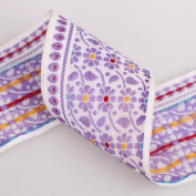 Neotrims 65mm Wide Indian Assam Geometric Floral Decorative Salwar Sari Trimming Ribbon By The Yard. 4 Amazing Colour Combos; Lavender Beige, White Pink, White Blue, White Lilac. Great Price Limited Edition Exclusive Stunning Decorative Border, Non Rep ..