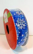 Jo-ann's Holiday Inspirations Cobalt Blue Snowflake Ribbon,sheer Blue with Silver Snowflakes,2.2cm x 9ft.
