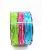 Jo-ann's Holiday Inspirations Tri-colour Glitter Ribbon,blue,pink,lime Green,0.3cm x 18ft.