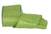 Renaissance 2000 Ribbon, 6.4cm , Olive Green and Lime Green Glitter Swirl Print