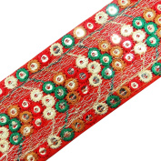 Sequin Work Trim Designer Red Lace Crafting Traditional Dress Curtain Tape By The Yard