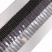 Neotrims Decorative Metallic Sequins Trimming Ribbon, Beautifully Luxurious Shimmering Block stripes of tonal sequins on a net base. For Evening Wear or Cocktail party Apparel and Home Décor; 3 Vibrant Colours; Copper/Silver/Black Combos as block stri ..