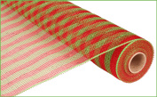 Deco Mesh Design - Red / Lime with Red Lime Foil Stripe Deco Poly Mesh 50cm x 10 yards
