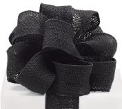 #16 Black Burlap Wired Ribbon