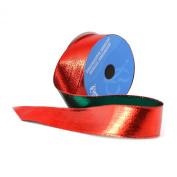 Berwick 3.8cm Wide by 10-Yard Spool Wired Edge Flipside Craft Ribbon, Red/Green