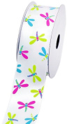 LUV Ribbons Creative Ideas Satin Dragonfly Print Ribbon, 3.8cm , White