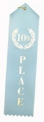10th Place (Light Blue) Award Ribbons w/Card & String