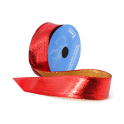 Berwick 3.8cm Wide by 10-Yard Spool Wired Edge Flipside Craft Ribbon, Red