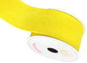 LUV RIBBONS Fabric Ribbon by Creative Ideas, 5.1cm , Canvas Glam, Yellow