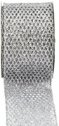 Kel-Toy Metallic Glitter Mesh Net Ribbon, 6.4cm by 10-Yard, Silver