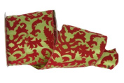 Renaissance 2000 Ribbon, 6.4cm , Red Flocking Swirls, Lime Green/Red