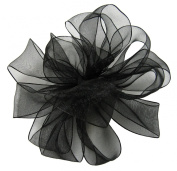 Offray Wired Edge Encore Sheer Craft Ribbon, 3.8cm Wide by 25-Yard Spool, Black