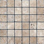 Noce Mosaic Tumbled Travertine 2x2