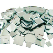 Jennifer's Mosaics 150 Count Plain Mirror Mosaic Tile Assortment, Silver