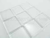 "40 CleverDelights Square Glass Tiles - 1 Inch - Clear Tiles - Glass Cabochons - For Photo Pendants Mosaics Trays - 1"" 25mm Tiles - 4mm Thick"