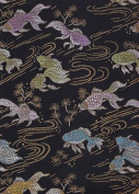 Satin Brocade Book Cloth- Goldfish on Black 43cm x 70cm Sheet