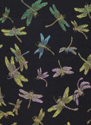 Satin Brocade Book Cloth- Rainbow Dragonflies on Black 43cm x 70cm Sheet