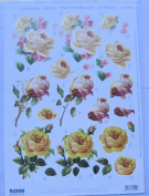 Ecstasy Crafts 3-D Precut Sheet - Flowers Yellow Roses