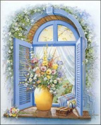 Cathedral Window Floral Paper Tole 3D Kit 8x10