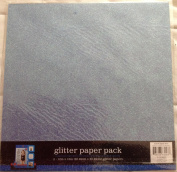Colorbok Glitter Paper - Two Sheets 30cm X 30cm Blue Scrapbooking Background
