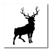 Florene Black and White - Black Deer Silhouette - Iron on Heat Transfers