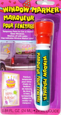 Window Marker - Red (Temporary Paint for Car or Home Windows - Washes Off with Water)