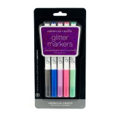 American Crafts Glitter Marker 5-Pack, Broad Point, Multi Colour