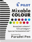 Pilot Parallel Pen Ink Refills for Calligraphy Pens, Assorted Colours, 12 Cartridges per Pack