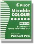 Pilot Parallel Pen Ink Refills for Calligraphy Pens, Green, 6 Cartridges per Pack