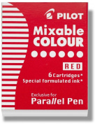 Pilot Parallel Pen Ink Refills for Calligraphy Pens, Red, 6 Cartridges per Pack