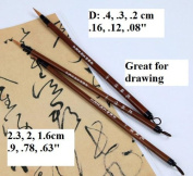 Hua Zhi - Ancient Technique Chinese Calligraphy Kanji Sumi Drawing Brush Set - Wolf Hair