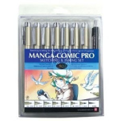 Alvin 50203 Pigma Manga Comic Professional Sketching and Inking Pens - Set of 8 Pieces