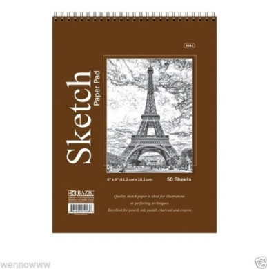 Wennow 50sheets 15cm x 20cm inches Top Bound Spiral Premium Quality Sketch Book Paper Pad