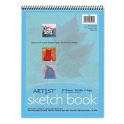 Pacon Products - Pacon - Artist's Sketch Book, Unruled, 80lb, 9 x 12, White, 30 Sheets/Pad - Sold As 1 Each - For pastel, pencil and charcoal drawings. - Spiral-bound at top with rigid chipboard back. - Sturdy 80-lb. stock. - Acid-free. -