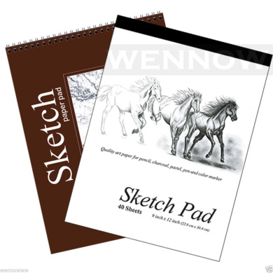 """Wennow """"9"""""""" × 12"""""""" (22.8cm × 30.4 cm)30 Sheets+40 Sheets Sketch Book Paper Pad Set of 2 """""""