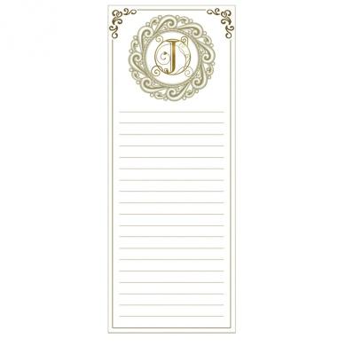 Grasslands Road Cucina Monogram Metallic Gold Letter Initial J Magnetic Memo Pad