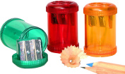 Kum 103.28.31 Magnesium Alloy 2-Hole Steel Blade Barrel Pencil Sharpeners with Waste Container, Colours Vary
