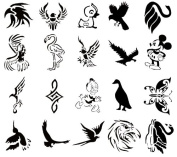 Airbrush Tattoo Stencil Set 52 Book of 20 Bird Templates