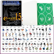 Master Airbrush® Brand Airbrush Tattoo Stencils Set Book #15 Reuseable Tattoo Template Set, Book Contains 102 Unique Stencil Designs, All Patterns Come on High Quality Vinyl Sheets with a Self Adhesive Backing.