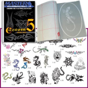 Master Airbrush® Brand Airbrush Tattoo Stencils Set Book #5 Reuseable Tattoo Template Set, Book Contains 30 Unique Stencil Designs, All Patterns Come on High Quality Vinyl Sheets with a Self Adhesive Backing.