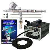 Master Airbrush® Brand Model G233 * 3 Tip & Needle PRO SET Airbrushing System with Model TC-31 Compact Professional Air Compressor, Air Hose, Moisture Trap, All with Our 1 Year Warranty and Now Includes a (FREE) How to Airbrush Training Book to Get Yo ..