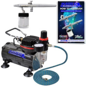Airbrush Depot Brand Pro Syphon Feed Airbrushing System High Performance Multi-purpose Syphon Feed Dual-action Airbrush Kit with Hose and a Powerful 1/6hp Single Piston Quiet Air Compressor-The Complete Set Now Includes a (FREE) How to Airbrush Trainin ..