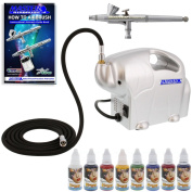 Complete Airbrush Face and Body Art Paint Airbrushing System - Includes the Master G34 Gravity Feed Airbrush with a 30ml Gravity Fluid Cup, 0.3 mm Needle/Nozzle with the TC-16 Air Compressor and a Set of the 8 Most Popular Custom Body Art Water-Bas ..