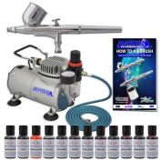 MASTER Cake Decorating Airbrush Kit with 12 Food Colour Set With Airbrush Depot 1 Year Warranty Tankless Compressor and 6 Foot Air Hose Set