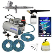 Master Pro Multi-Purpose Two Airbrush Set with Compressor - Includes Air filter /Regulator -3- 6' Air Hoses - Multi-Airbrush Holder -Model G44 Gravity Feed Dual Action Master Airbrushes and Master Airbrush E91 suction Feed Airbrush- Airbrush Cleaning P ..