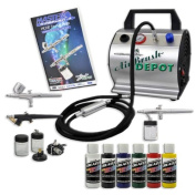 Master Multi-Purpose Professional Airbrushing System with 3 Airbrushes & Deluxe Compressor w/ 6 Createx Colours