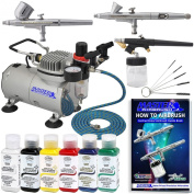 3 Airbrush Kit with 6 Testors Primary Opaque Airbrush Colours and Master Airbrush TC20 Pro Airbrush Compressor - Air filter /Regulator- Airbrush Holder - 2 Gravity Feed Dual Action Master Airbrushes and 1 Suction Master Feed Airbrush and a (FREE) How t ..