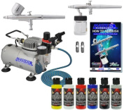 Master Multi-Purpose Wicked Colours Airbrushing System with 2 Airbrushes Models G22 Gravity Feed , S68 Syphon Feed, 5 Wicked Colours and Reducer, Model TC-20 Professional Air Compressor with Free How To Guide