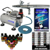 Master Airbrush® Brand Finger Nail Decorating System. 1 Airbrush, Air Compressor, Stencil Set of Over 100 Designs, 6' Hose, Kit of 12 Popular Nail Paint Colours in 60ml Bottles, Airbrush Cleaner, & (Free) How to Airbrush Training Book to Get You Started.