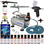 Master Pro Airbrush Cake Decorating Set with 12 AmeriMist Airbrush Cake colour set that are FDA approved - 3 Airbrush Kit - TC20 Compressor - Air filter /Regulator - 3-6' Air Hose -Multi-Airbrush Holder - Master G25 Gravity Feed Dual Action Master Airb ..